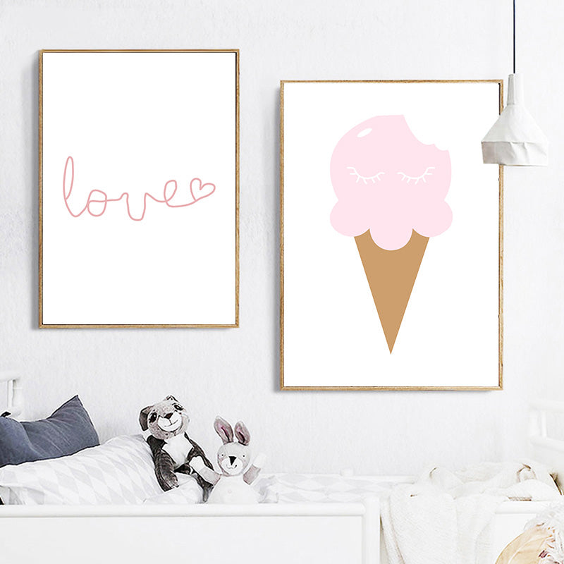 Cute Pink Rabbit Ears Wall Art Little Princess Love Quote Posters For Girls Bedroom Fine Art Canvas Prints Nordic Style Pictures For Kids Room Baby Room Decor