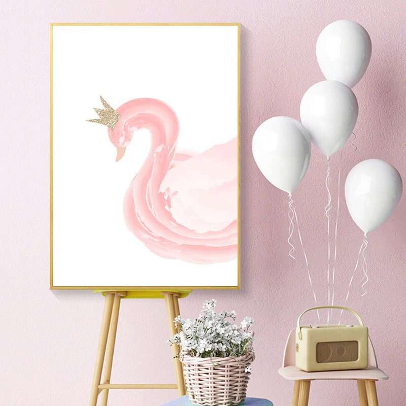 Cute Pink Swan Ballet Girl Nursery Wall Art Gold Hearts Posters Fine Art Canvas Prints Pictures For Kids Room Girl's Room Wall Decor