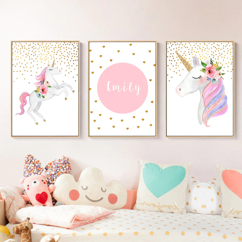 Cute Pink Unicorn Nursery Wall Art With Customized Name Personalization Fine Art Canvas Prints Modern Nordic Style Pictures For Girls Bedoom