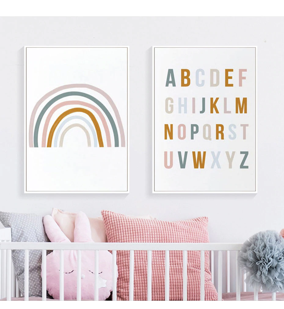 Cute Rainbow Alphabet Nursery ABC Wall Art Posters Fine Art Canvas Prints Nordic Style Pictures For Baby's Room Kids Room Wall Decor