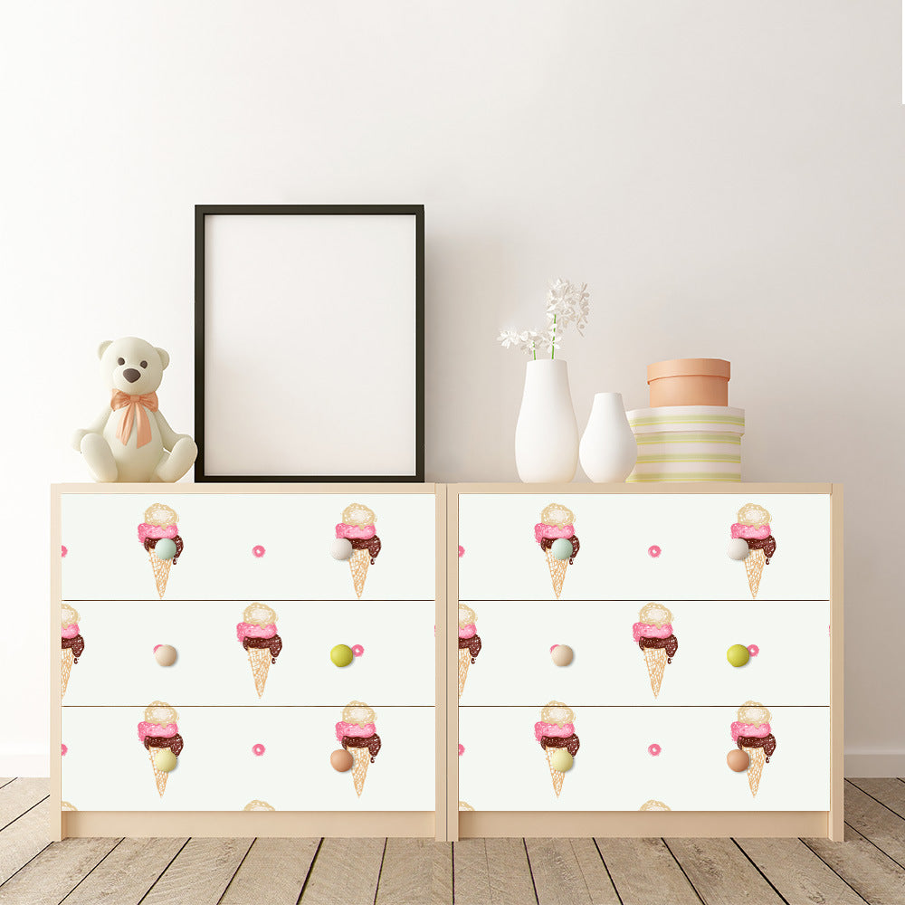 Cute Retro Ice Creams Vinyl Wall Mural Self Adhesive Sticky-Back PVC Wallpaper Peel & Stick Covering For Tables Cabinets Surfaces Creative DIY Kids Room Decor