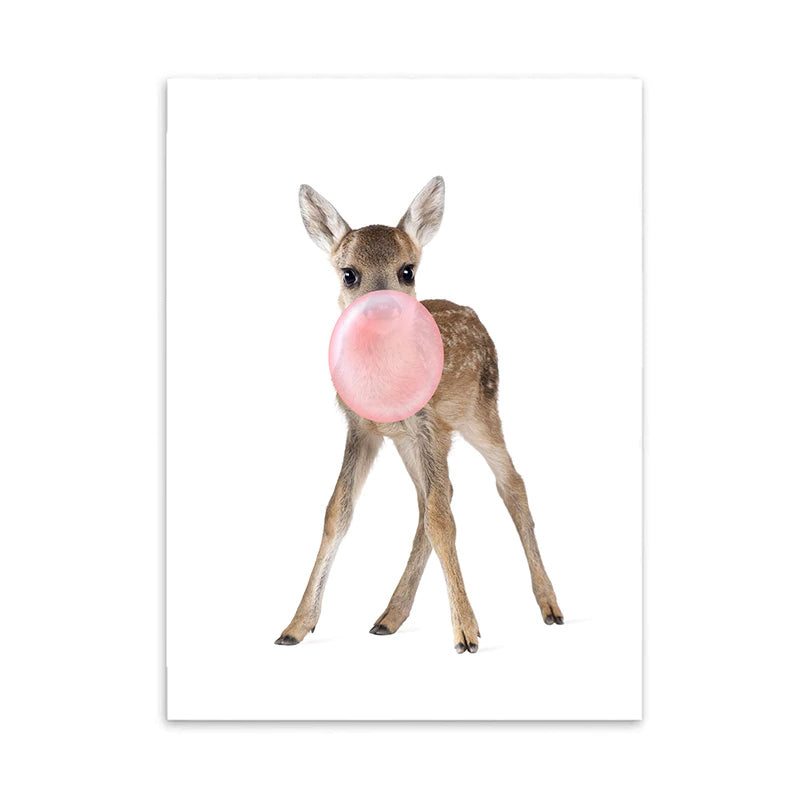 Cute Woodland Animals Blowing Pink Bubblegum Nursery Wall Art Fine Art Canvas Prints Delightful Pictures For Children's Room Girls Room Decor