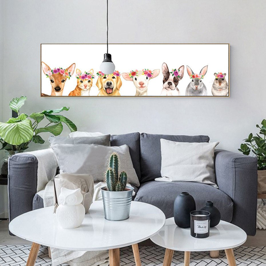 Cute Woodland Animals Nursery Art Wide Format Canvas Print Painting Nordic Posters For Nursery Room and Kids Rooms Modern Home Decor