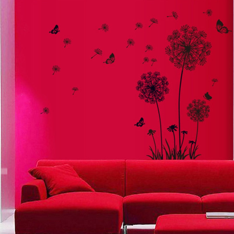 Dandelion Wall Art Mural PVC Sticker For Wall Or Window Black Dandelion Silhouettes Vinyl Decals For Decorating Plain Walls Windows Creative Home Art Interior Decor
