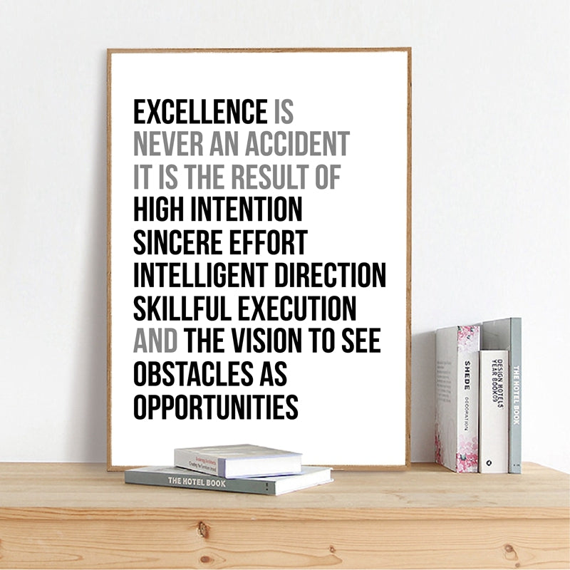 Definition Of Excellent Black and White Wall Art Poster Motivation Quotations Letter Art Fine Art Canvas Prints For Home Office Wall Decor