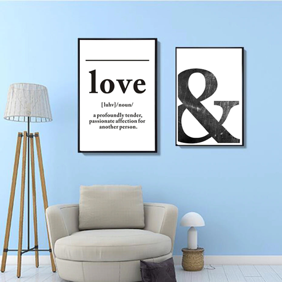Definition of Love Art Poster Black and White Canvas Print Simple Typographic Nordic Wall Art For Modern Bedroom Home Decor