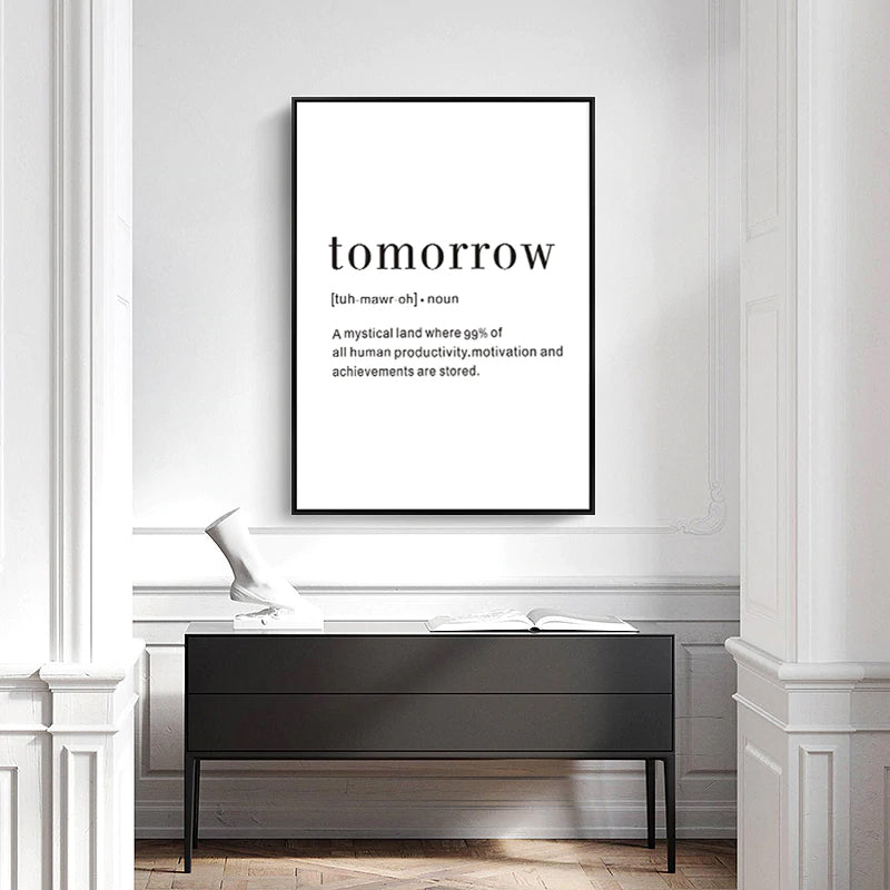 Definition of Tomorrow Minimalist Quotation Poster Wall Art Black White Canvas Prints Nordic Pictures For Kids Room Modern Home Decoration