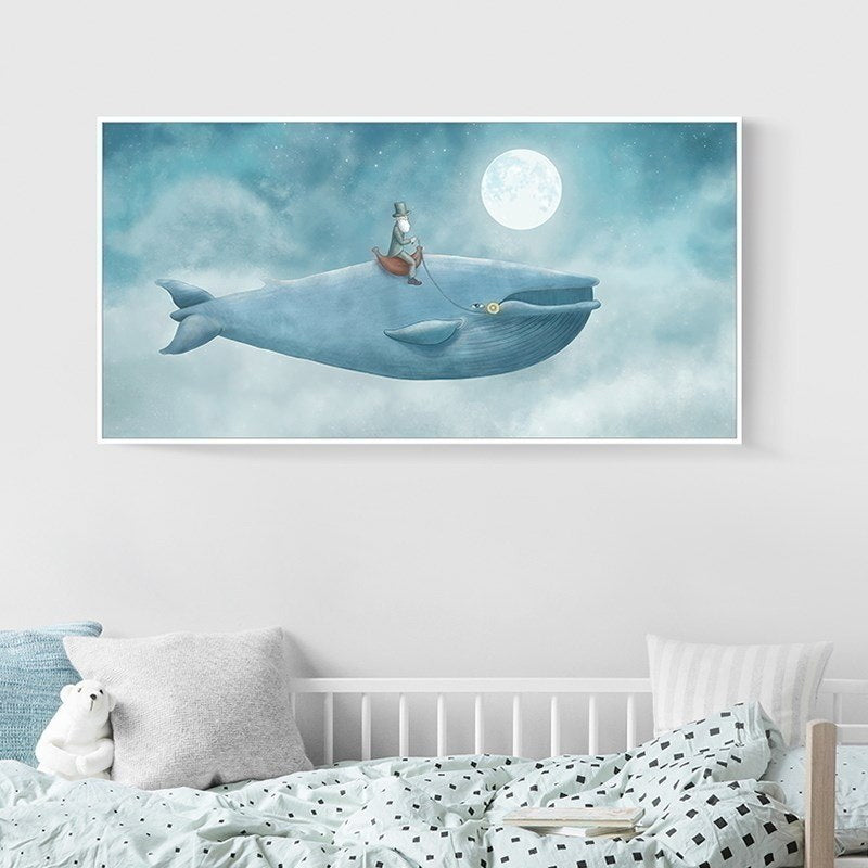 Delightful Big Blue Whale In The Sky Abstract Watercolor Canvas Print Wall Art Poster For Kids Room Nursery Art For Modern Home Decoration