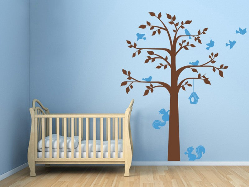 Delightful Squirrels and Birds in Tree Removable Vinyl Decal Wall Art Mural For Nursery Room Kids Room Home Decor