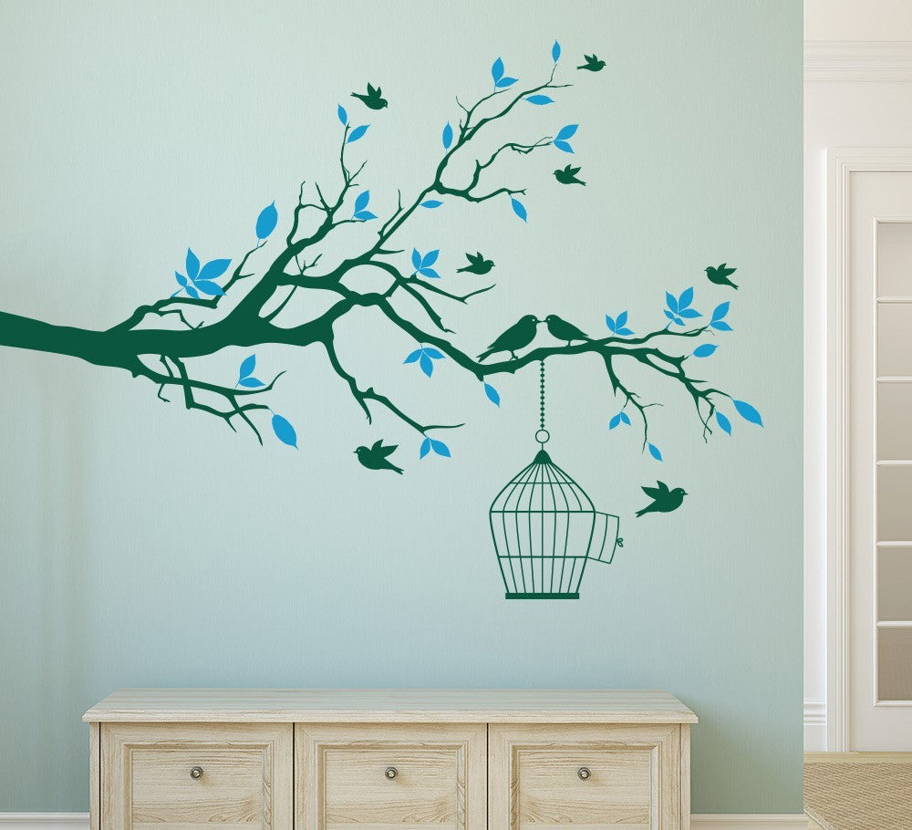Delightful Birds in Tree with Bird Cage Vinyl Wall Decals Wall Sticker Removable Mural for Living Room Home Decor