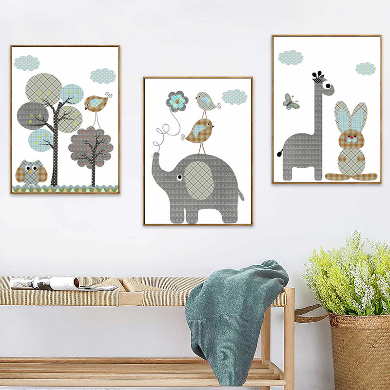 Delightful Cartoon Giraffe Rabbit Elephant Nordic Nursery Animals Wall Art Canvas Paintings Colorful Posters For Toddlers Room Home Decor