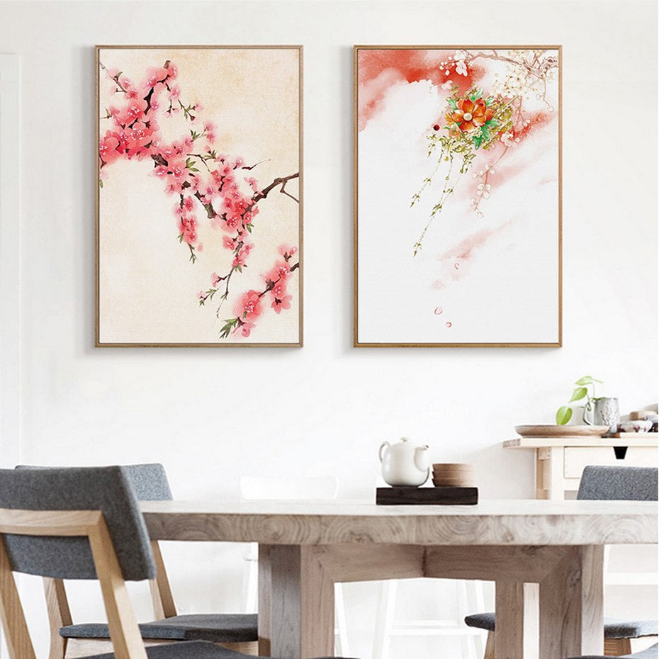 Delightful Cherry Blossom Mountain Landscape Floral Wall Art Canvas Print Colorful Nordic Nature Posters For Modern Living Room Decor