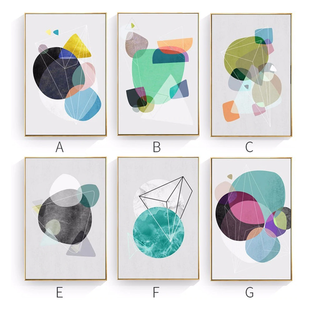 Delightful Colorful Abstract Design Modern Geometric Art Posters Canvas Wall Art Paintings For Office or Living Room Home Decoration