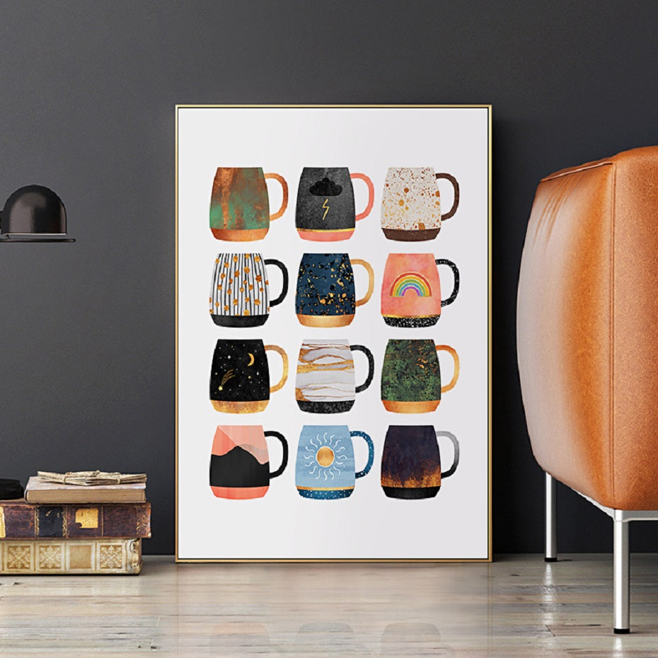 Delightful Colorful Coffee Mugs Kitchen Art Posters Coffee Quotations Fine Art Canvas Prints For Modern Kitchen Cafe Tearoom Modern Home Decor