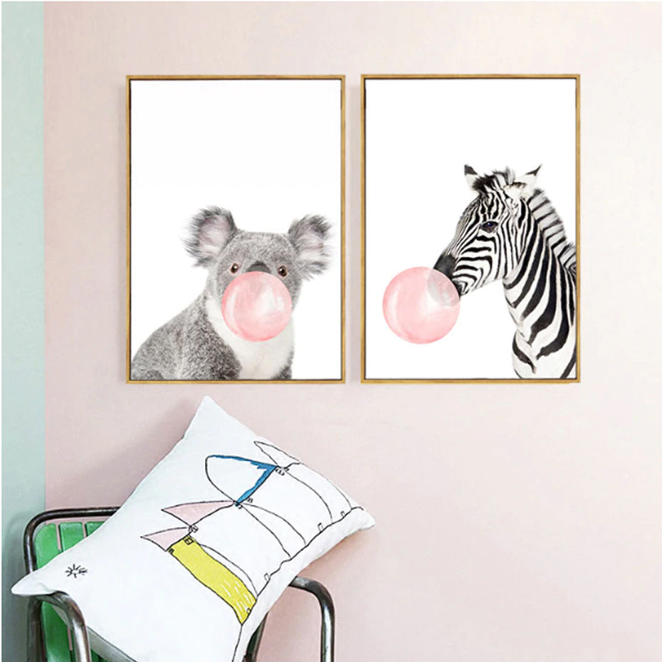 Delightful Furry Animals Blowing Bubblegum Bubbles Cute Nursery Wall Art Canvas Poster Modern Prints For Nursery Kids Room Home Decor