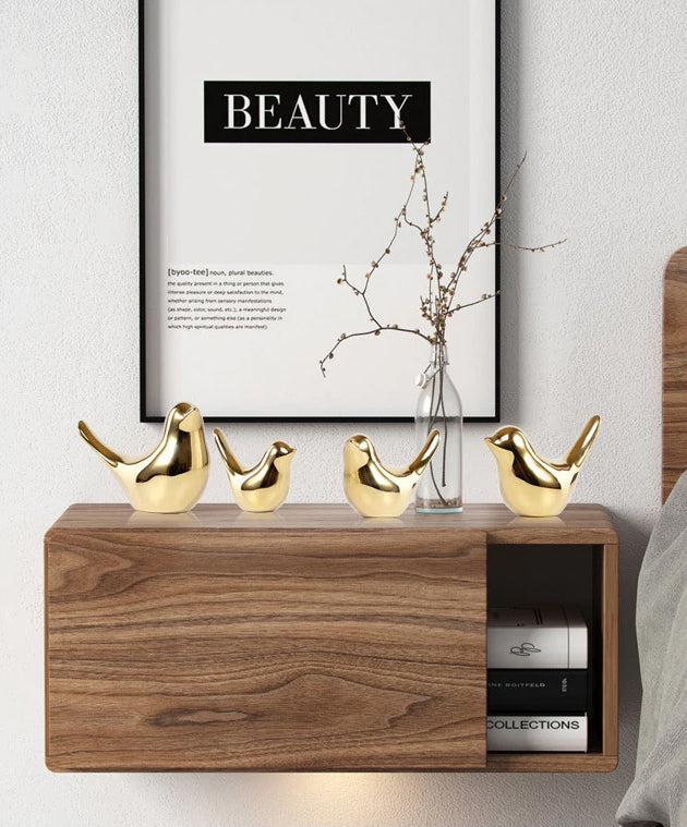 Delightful Golden Bird Sculptures Ceramic Ornaments For Coffee Table Windowsill Or Mantelpiece Modern Accessories For Nordic Home Decoration