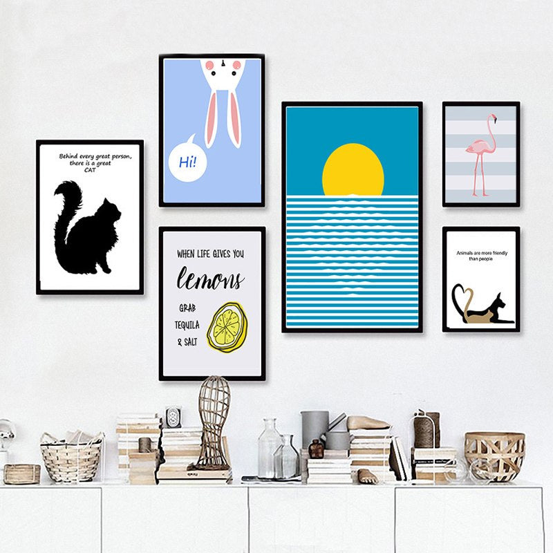 Delightful Modern Cartoon Animals Colorful Pop Art Posters Canvas Prints Cat Themed Retro Wall Art For Animal Lovers Living Room Decor