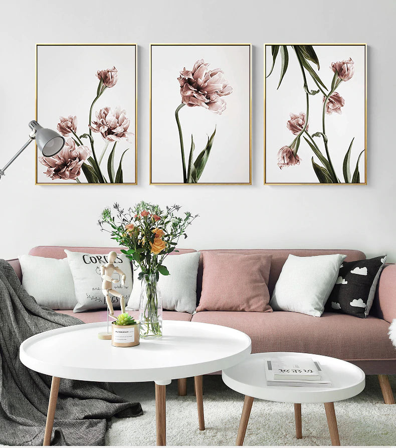 . Delightful Pink   Green Floral Wall Art Subdued Colors Minimalist Modern  Fine Art Canvas Prints For Living Room Dining Room Home Interior Decor