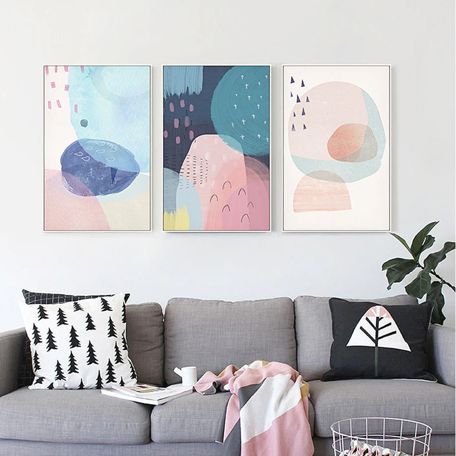 Delightful Pink & Blue Abstract Bedroom Wall Art Nordic Canvas ...
