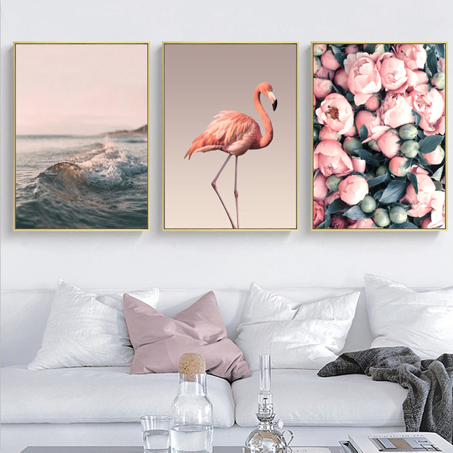 Delightful Romantic Wall Art Pink Flamingo Sunset Peony Petals Fine Art Canvas Prints Modern Minimalist Wall Art For Modern Home Decoration