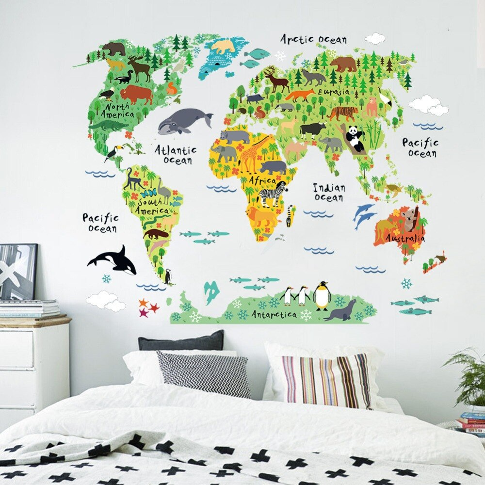 Delightful World Wildlife Map Wall Decal For Kids Room Colorful Map Of The Continents With Cartoon Wildlife Removable PVC 75x90cm Wall Decal