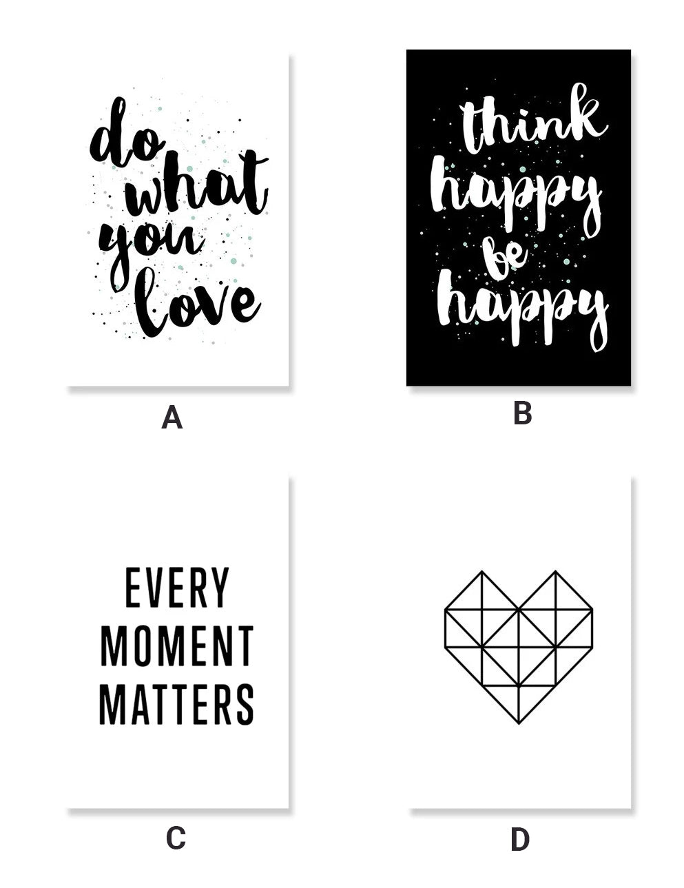 Do What You Love Positive Quotes Wall Art Nordic Style Black & White Minimalist Inspirational Word Art Fine Art Canvas Prints Home Office Interior Decor