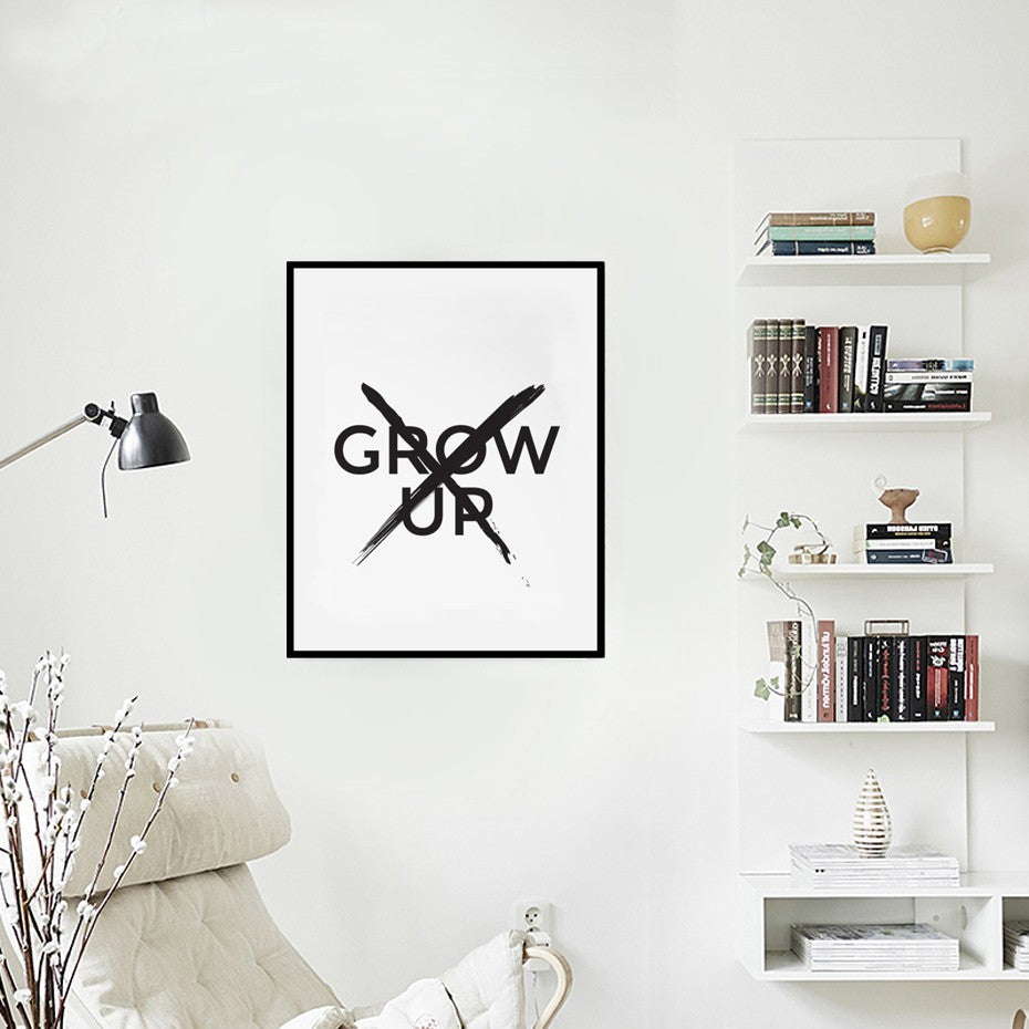 Don't Grow Up Big Quote Poster Minimalist Wall Art Canvas Print For Kids Room Boys room Living Room Home Decor