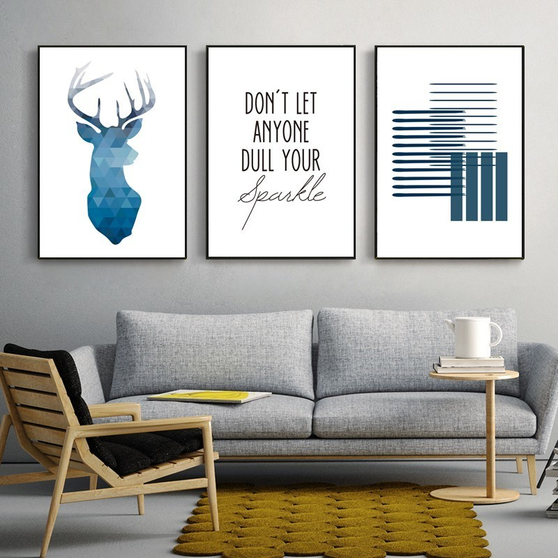 Don't Let Anyone Dull Your Sparkle Blue Nordic Minimalist Wall Art Fine Art Canvas Prints Quotations Posters For Office Or Home Living Room Modern Home Decor