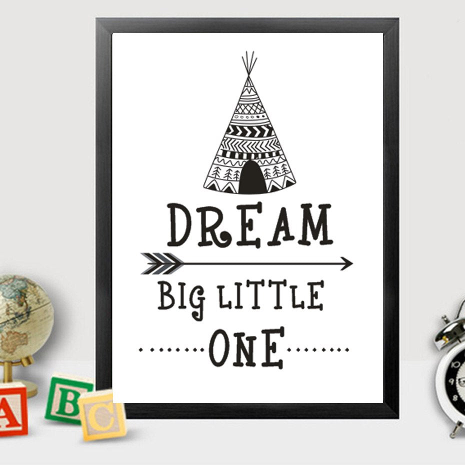 Dream Big Little One Wigwam Theme Canvas Wall Art For Nursery Decor Pop Art Inspirational Quote Poster For Kids Room Home Decor