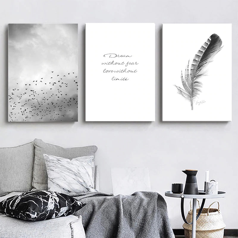 Dream Without Fear Love Without Limits Inspirational Quotation Wall Art Birds In The Sky Delicate Feather Fine Art Canvas Prints Nordic Wall Decor