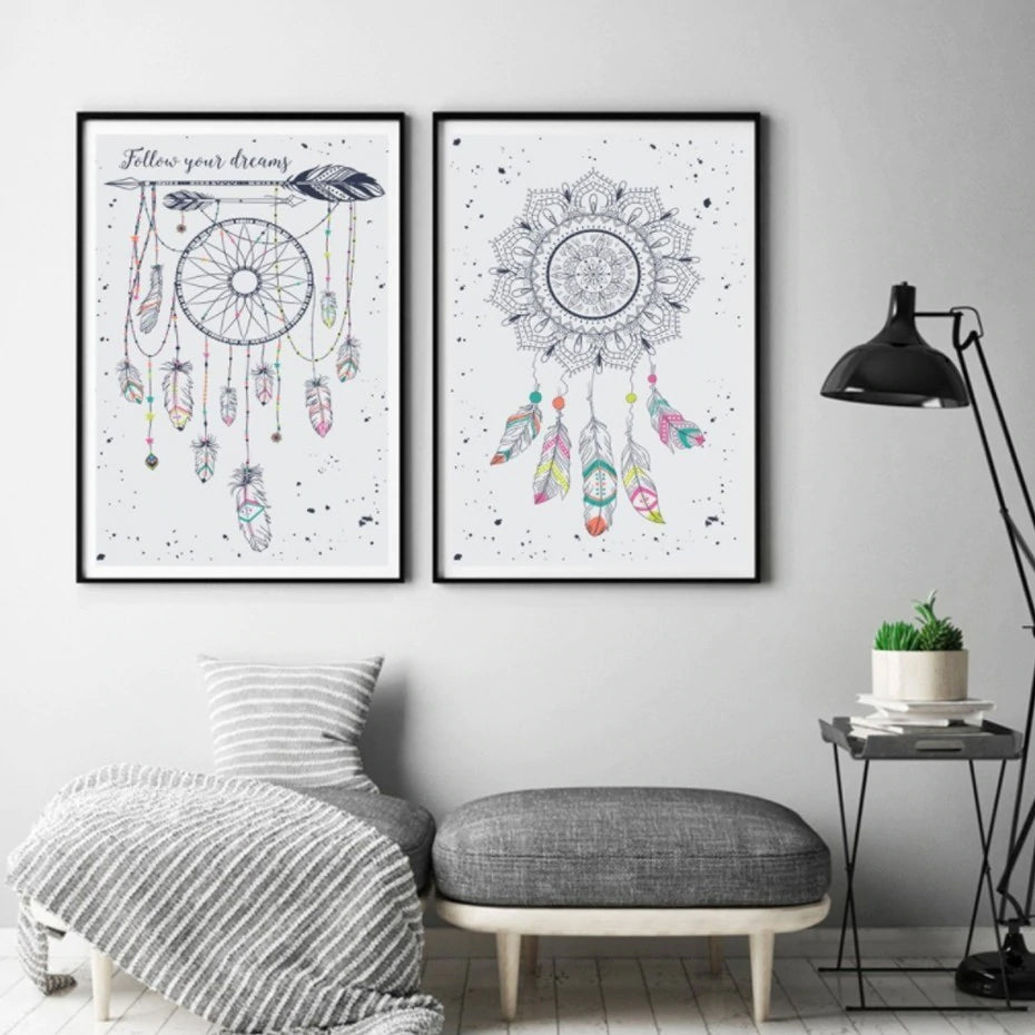 Dreamcatcher Tribal Wall Art Canvas Posters Follow Your Dreams Colorful Totem Prints Eyecatching Nordic Wall Art For Bedroom Home Decor