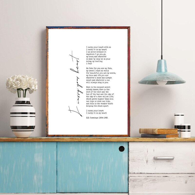 EE Cummings I Carry Your Heart Poem Wall Art Black White Fine Art Canvas Print Nordic Minimalist Quotation Decor For Modern Home Bedroom Interior