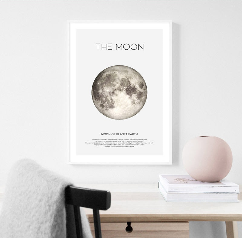 Earth Moon Planets Wall Art Fine Art Canvas Prints Astronomy Space Posters For Living Room Nordic Style Minimalist Pictures For Kids Room Wall Art Decor