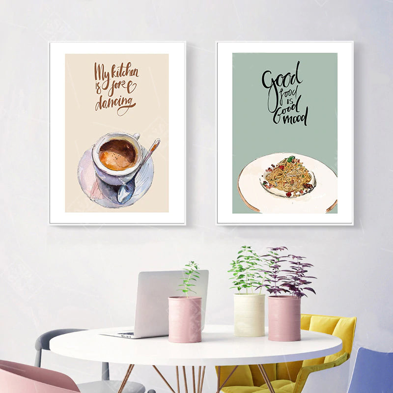 Eat Drink Enjoy Food Makes Me Happy Time For Tea Wall Art Kitchen Posters Fine Art Canvas Prints Colorful Cafe Pictures Home Decor