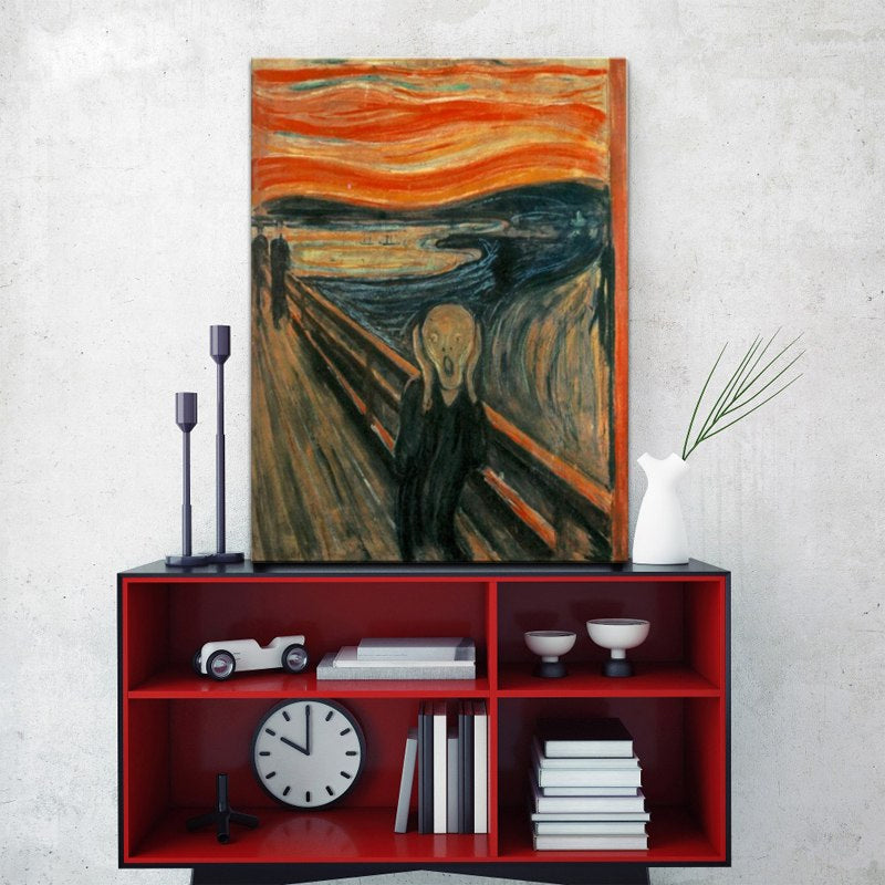 Edvard Munch The Scream Poster Wall Art Canvas Print Iconic Abstract Art Classic Famous Painting Wall Art For Living Room Modern Home Decor