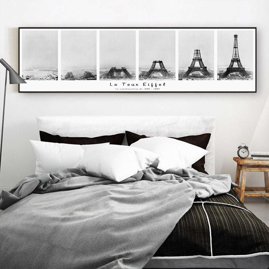 Eiffel Tower Construction Modern Abstract Black White Wall Art Canvas Architectural Painting Posters For Office or Living Room Home Decoration