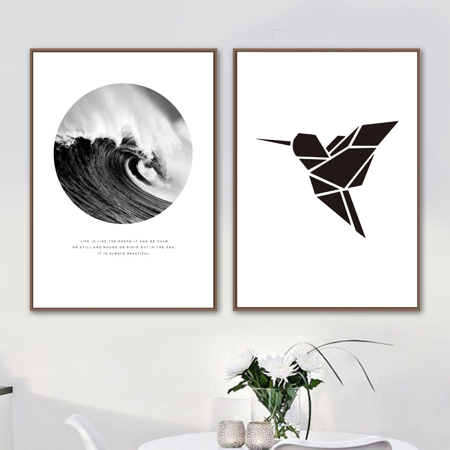 Elements Of Nature Black White Gallery Wall Art Fine Art Canvas Prints Minimalist Inspirational Nordic Style Pictures For Modern Living Room Home Decor