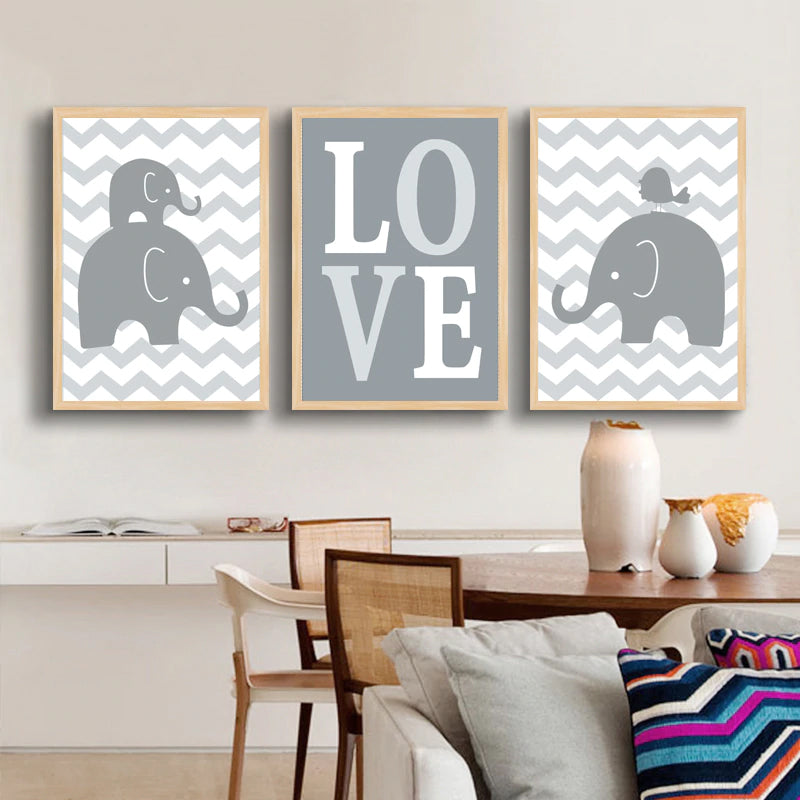 Elephants Sweet Family Love Cartoon Canvas Paintings Nordic Wall Art Pictures Poster and Print for Kids Room Nursery Home Decor