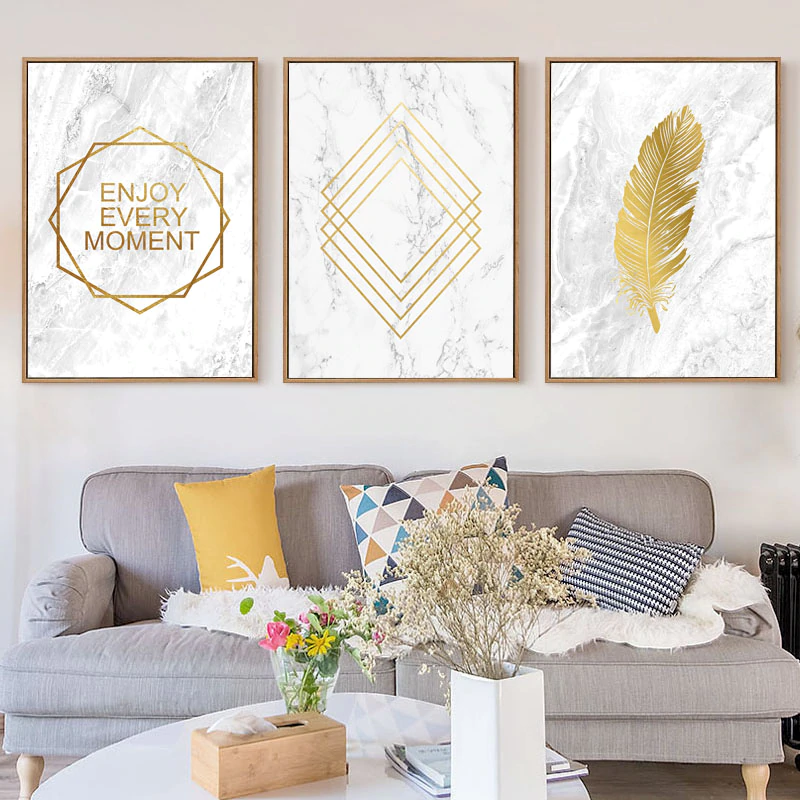 Enjoy Every Moment Quotation Wall Art Golden Marble Feather Fine Art Canvas Prints Nordic Style Posters For Living Room Bedroom Home Decor