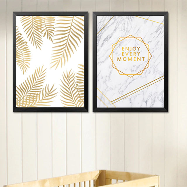 Enjoy Every Moment Quotation Wall Art Marble Background Golden Palm Leaf Fine Art Canvas Prints Nordic Posters For Living Room Bedroom Wall Art Decor