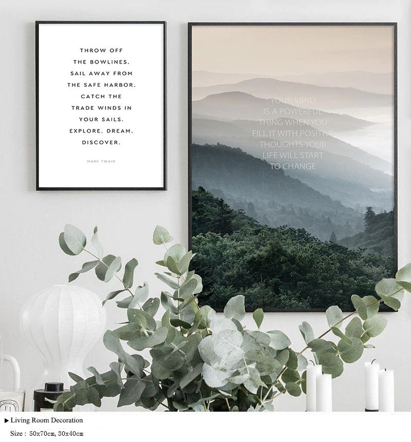 Explore. Dream. Discover. Northern Landscape Wilderness Nature Fine Art Canvas Prints Scandinavian Style Modern Home Interior Wall Decor