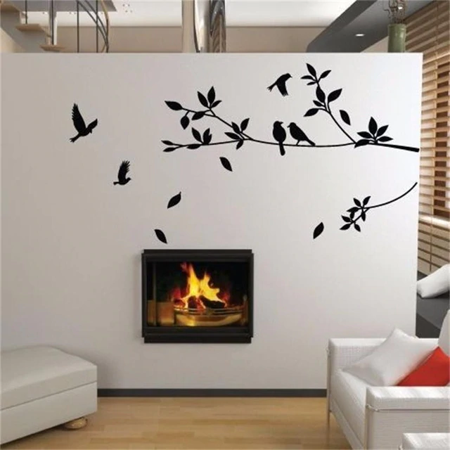 Family Of Birds On A Tree Branch Wall Mural Removable PVC Wall Art Decal For Living Room Bedroom Kids Room Nursery Wall Decoration