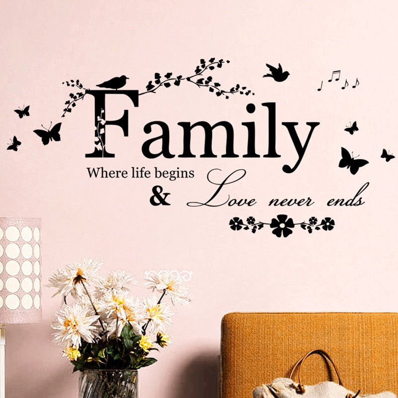 Family Where Life Begins Love Never Ends Inspirational Words Wall Decal For Living Room Wall Removable PVC Vinyl Wall Mural Creative DIY Home Decor