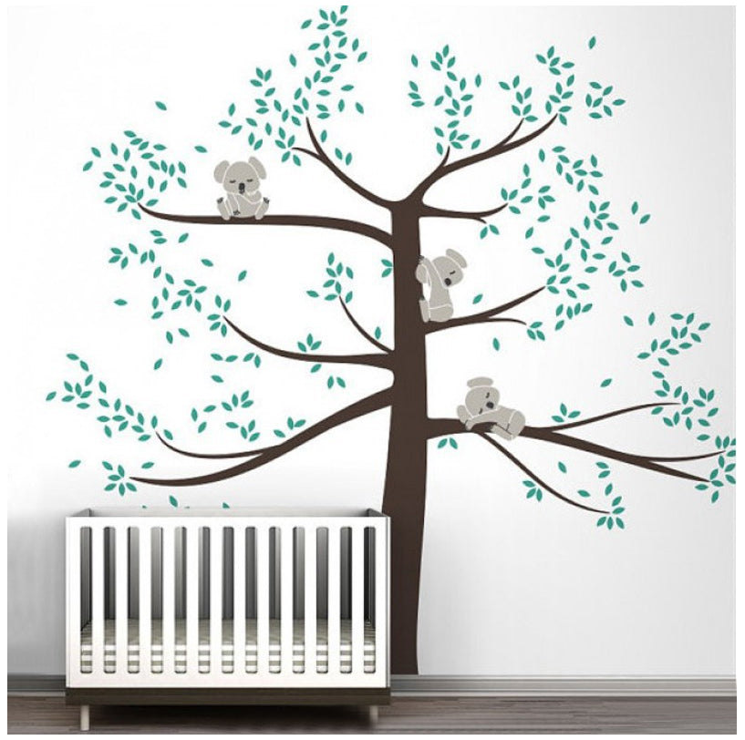 Family of Koalas On Branches in Large Tree Vinyl Decals Wall Art Removable Mural for Baby Room Kids Room Home Decor