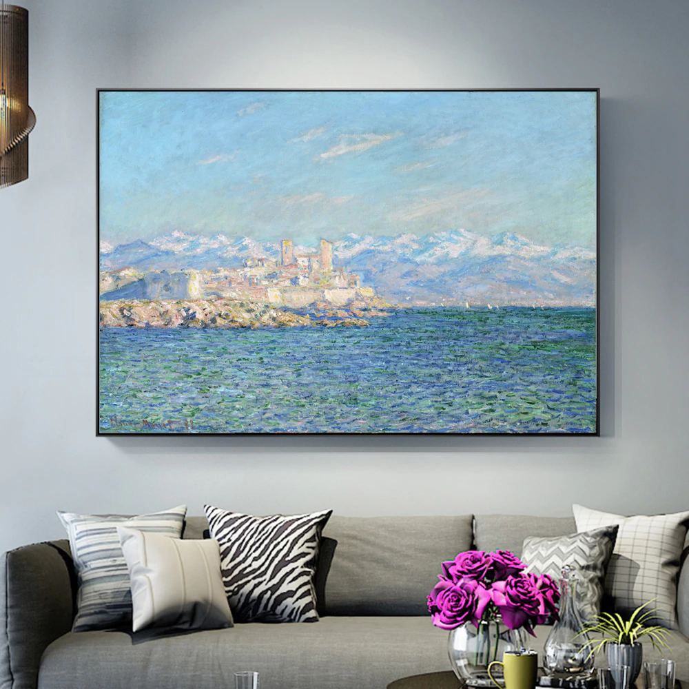 Famous Artists Claude Monet Wall Art Antibes Afternoon Effect Painting Fine Art Canvas Giclee Print Classic Impressionist Landscape Paintings