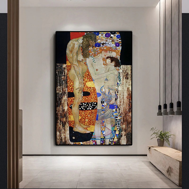 Famous Artists Gustav Klimt Wall Art Three Ages Of Woman Fine Art Canvas Giclee Print Classic Painting Symbolizing The Cycle Of Life