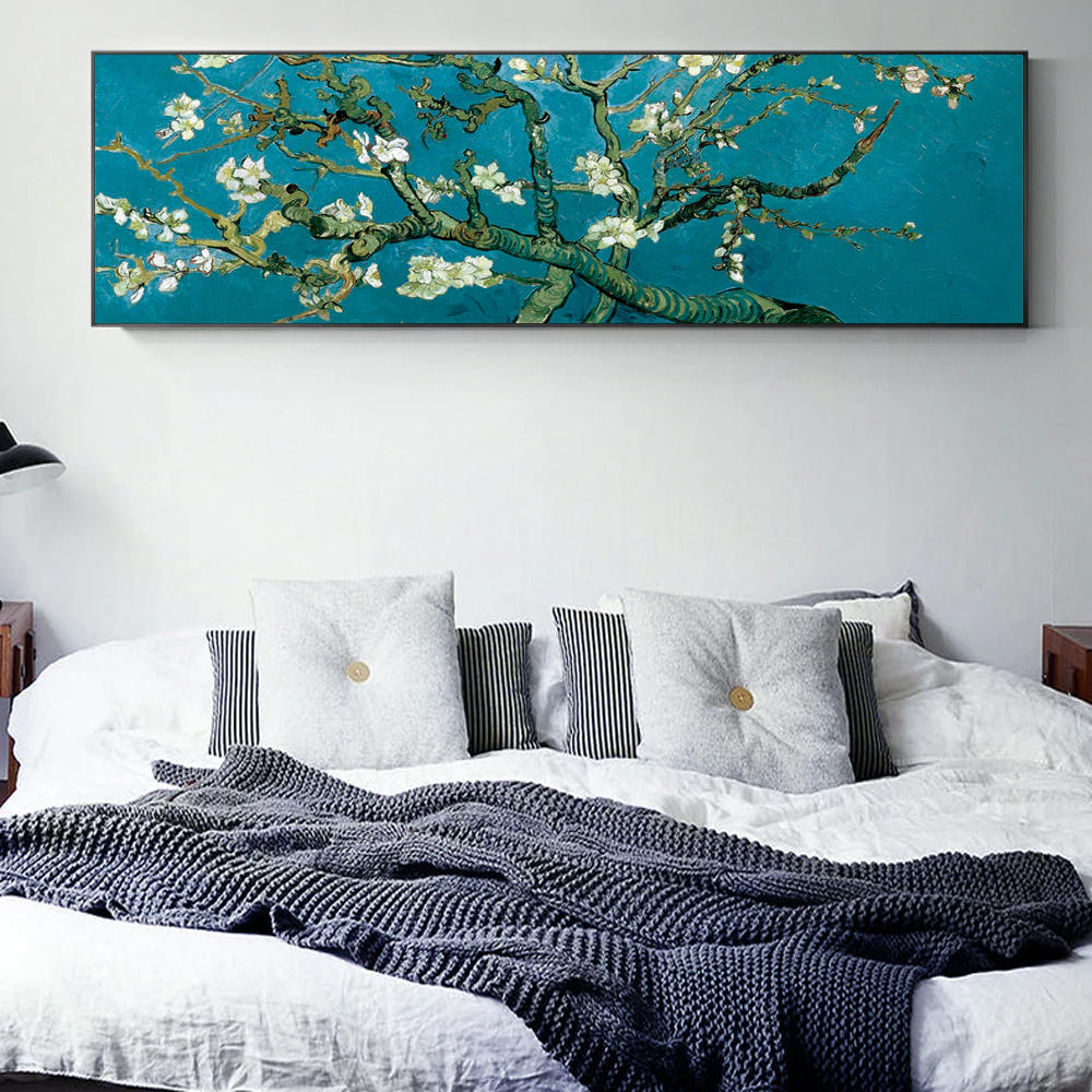 Famous Artists Vincent Van Gogh Almond Blossoms Wide Format Painting Fine Art Canvas Giclee Print Classic Impressionist Wall Art Decor