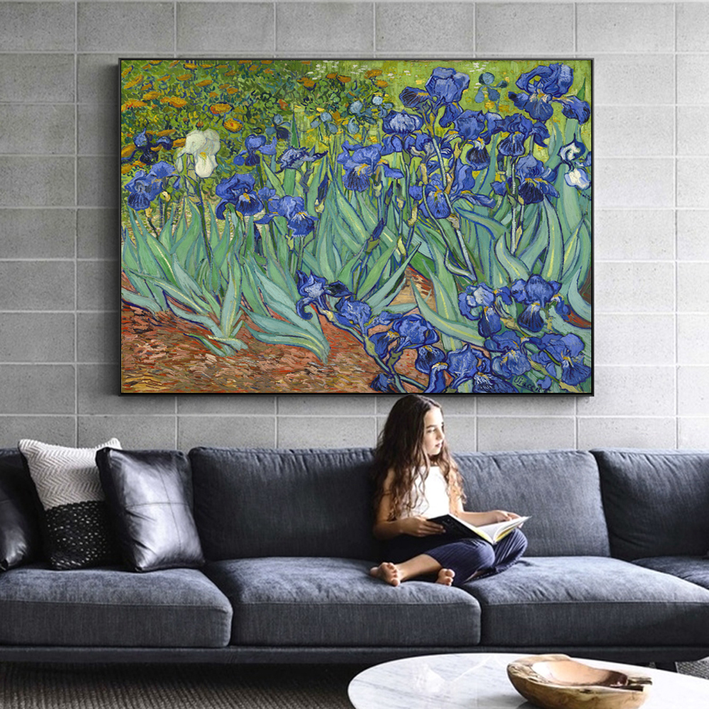 Famous Artists Vincent Van Gogh Irises Poster Fine Art Canvas Print Classic Colorful Post-Impressionism Landscape Floral Wall Art Decor