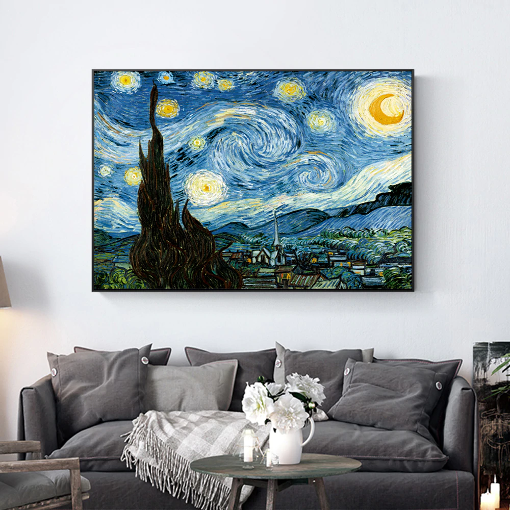 Famous Artists Vincent Van Gogh Wall Art The Starry Night Poster Fine Art Canvas Giclee Print Paintings For Living Room Home Decor