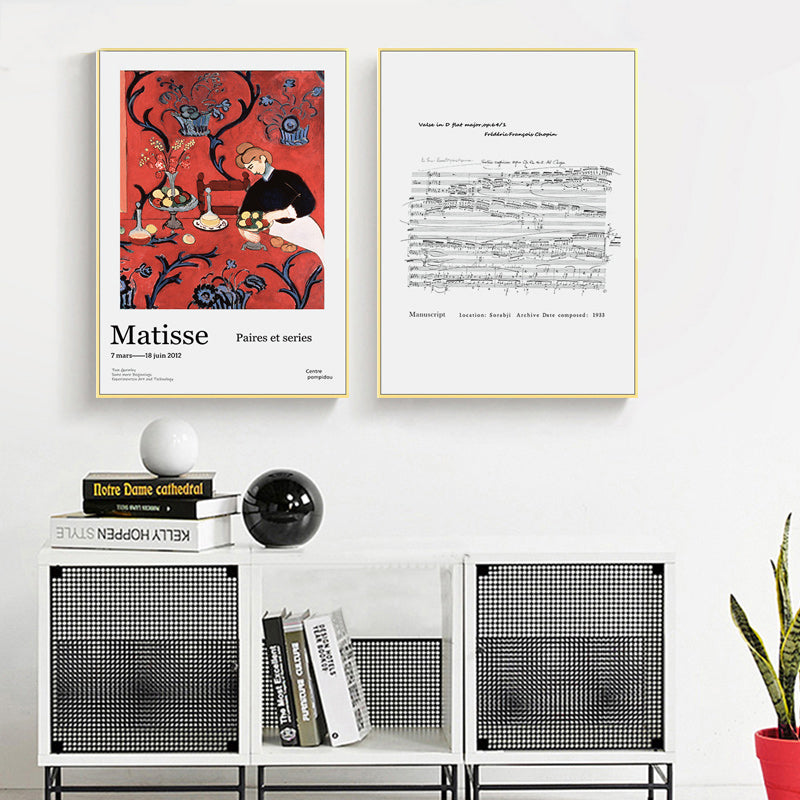 Famous Artists Wall Art Matisse Art Expo Poster Chopin Music Manuscript Abstract Retro Vintage Dining Room Wall Art Fine Art Canvas Prints